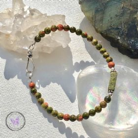Unakite Healing Bracelet with Silver Hook Clasp